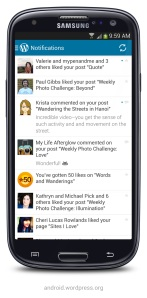 Version 2.4 of WordPress for Android: Notifications panel on a Samsung Galaxy S3